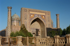 The Ulugbek Medrassa inside the Registan. Built in 1420.