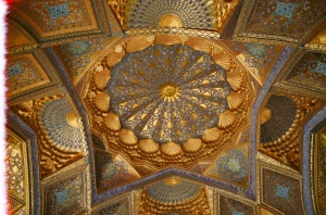 The gilded ceiling (restored) of Timur the Great's Mausoleum