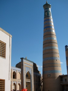 My Khiva! What a large minaret you have! It's the tallest in Uzbekistan.