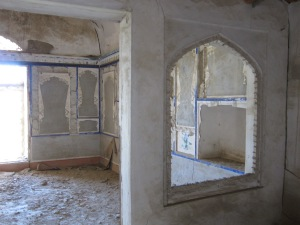 This appears to be the unrestored quarters of the Imam in one of Bukhara's grand medrassas.